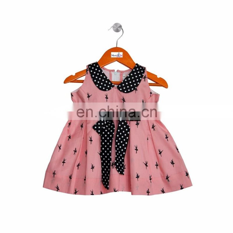 Girl Pink And Black Dance Printed Frock With Peterpan Collar
