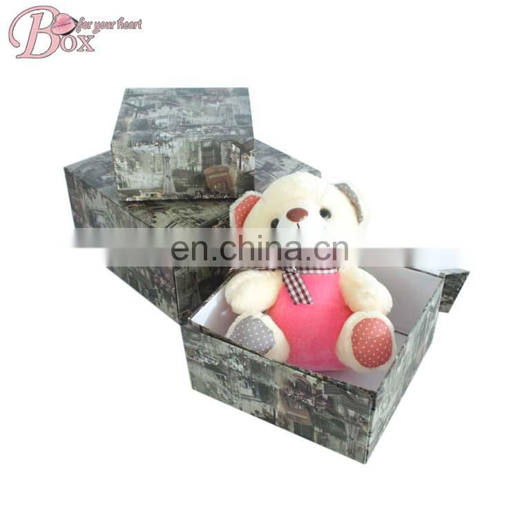 Hot Sale Cardboard Flower Clothing Storage Box Folded Paper Floded Hat Box