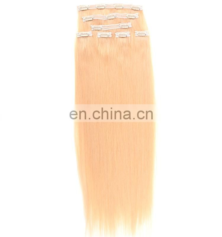 100% brazilian virgin silky straight human hair clip in hair extension