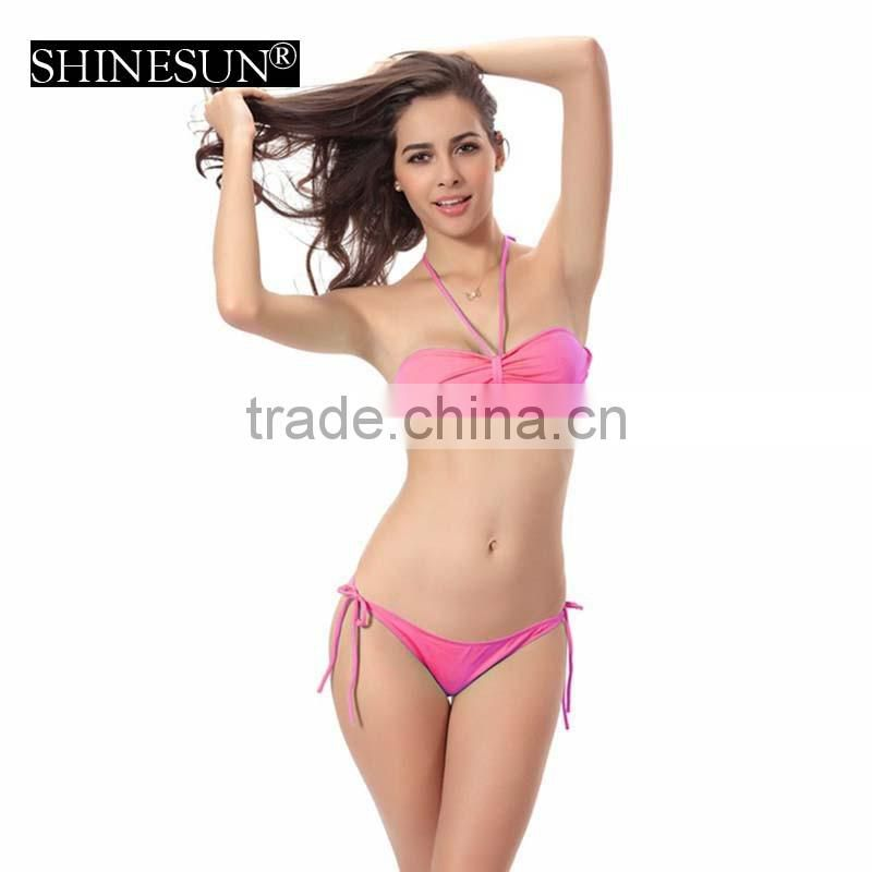c9656a60fd9 11 pure colors Bikini large size beautiful xxx sex china bikini girl photos  swimwear chest pad ...