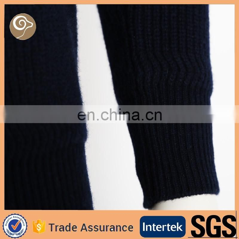 Turn down collar knitted China wholesale pure wool sweater