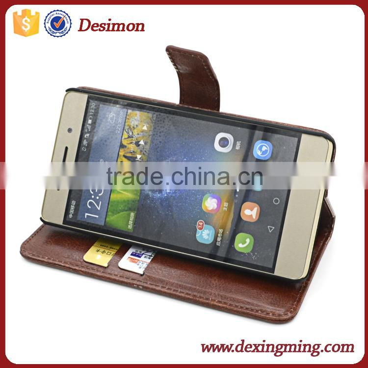 High quality factory price Card Slot Stand Leather Coated PC Case for Huawei Ascend P8 Lite