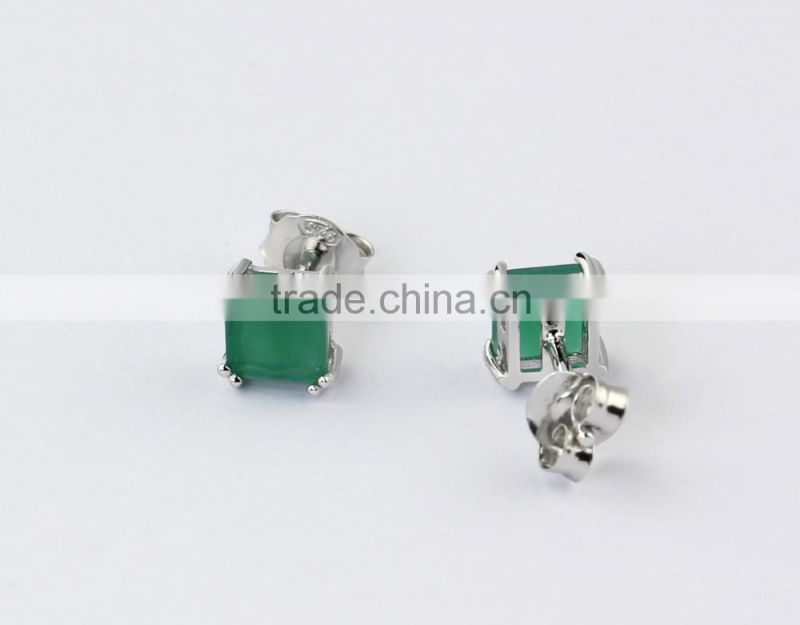 wholesale semi joias brincos rhodium plated square zirconia emerald stud earrings