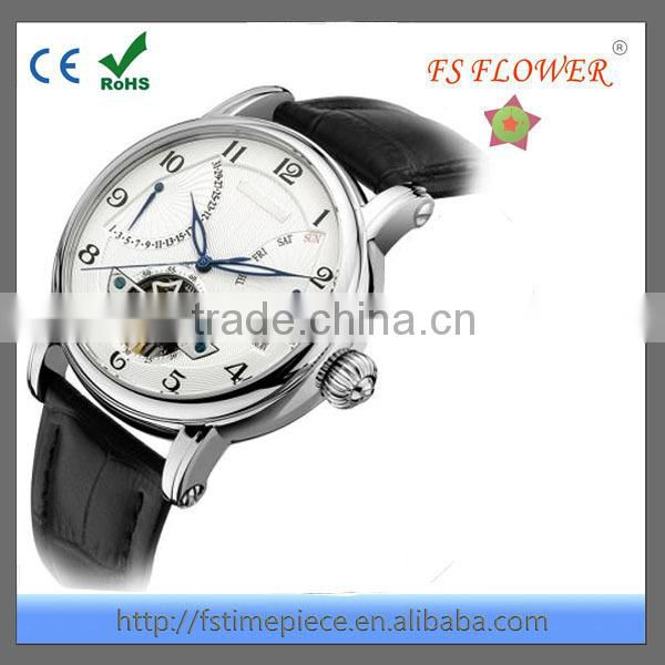 FS FLOWER - Men's Date With Energy Display Chinese Mechanical Movement Watch Leather Band