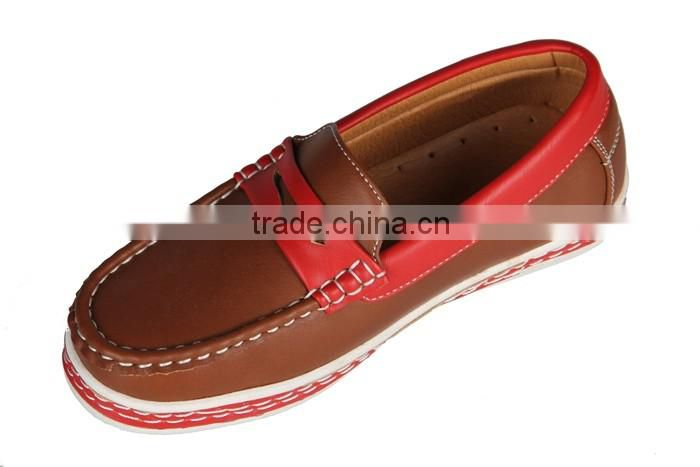 Teenager Rubbing-Free Better Quality Pu Leather Flat Boat Shoes