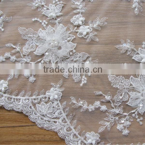 Beaded Lace With Soild Hand Sewing Flower