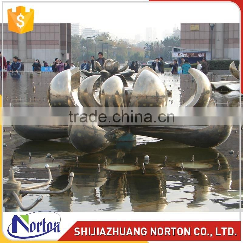 Large stainless steel lotus sculpture for fountain decor NTS-014LI