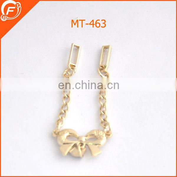 hot sale rhineston heart shape metal dress brooch with chain