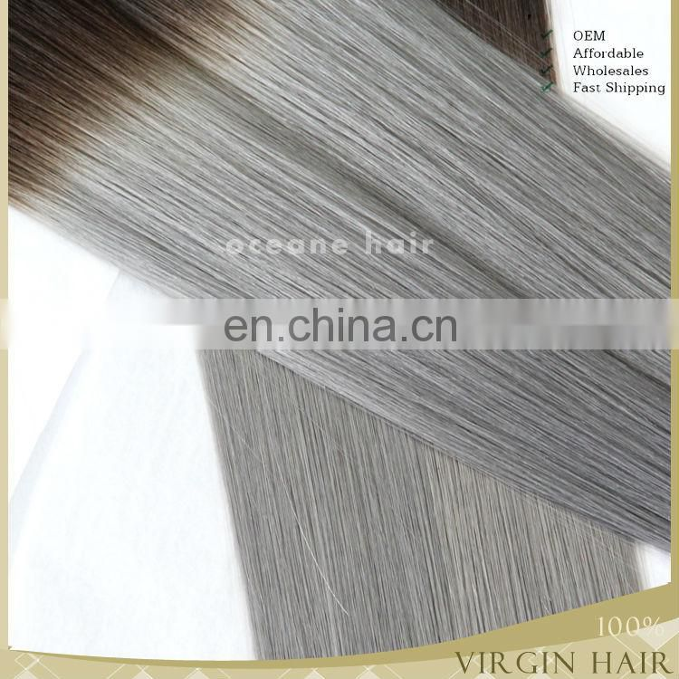 New arrival virgin unprocessed two tone cheap silver human hair extensions