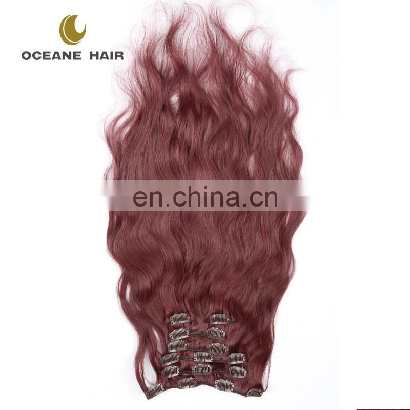 High quality fast shipping virgin cheap brazilian human hair 99j clip hair extension