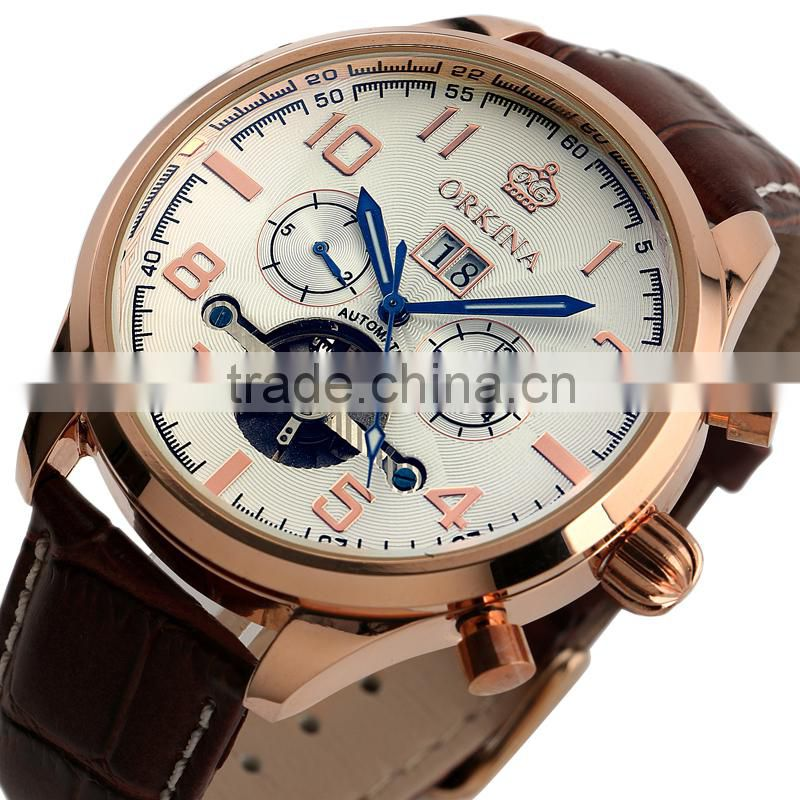 Day Date Display Analog Watch,Leather Wrist Men Automatic Mechanical Watch WM374
