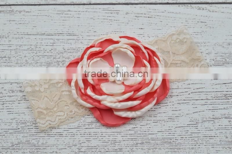 Lace and pearl baby hair head band fashion kids accessories for party