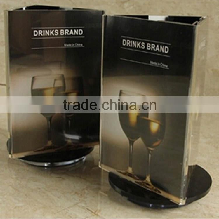 top grade clear acrylic rotary red wine display, three sides transparent plexiglass wine display stand with 200*110mm