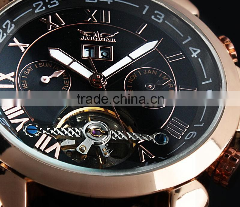 Jargar Men Black Tourbillon Rose Golden Aviator Automatic Mechanical Watch WM183