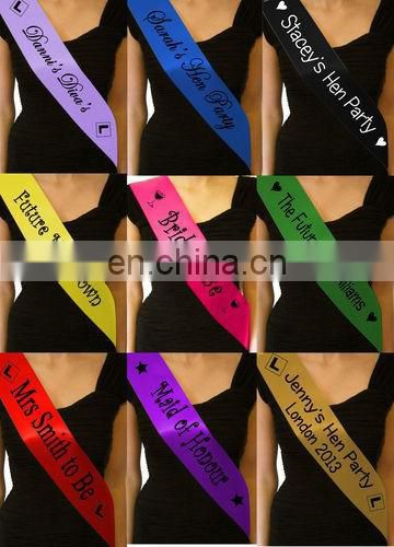 Factory direct sell yellow graduation sash with print logo