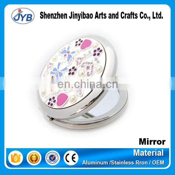 Double Side Metal Pink Butterfly Crystal Pocket Hand Makeup Mirror