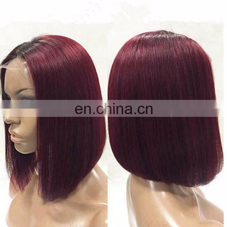 Colored Short Bob Cut Full Lace Wigs For Black Women Virgin Malsaysian Human Hair 99J Silky Stragiht Short Wigs
