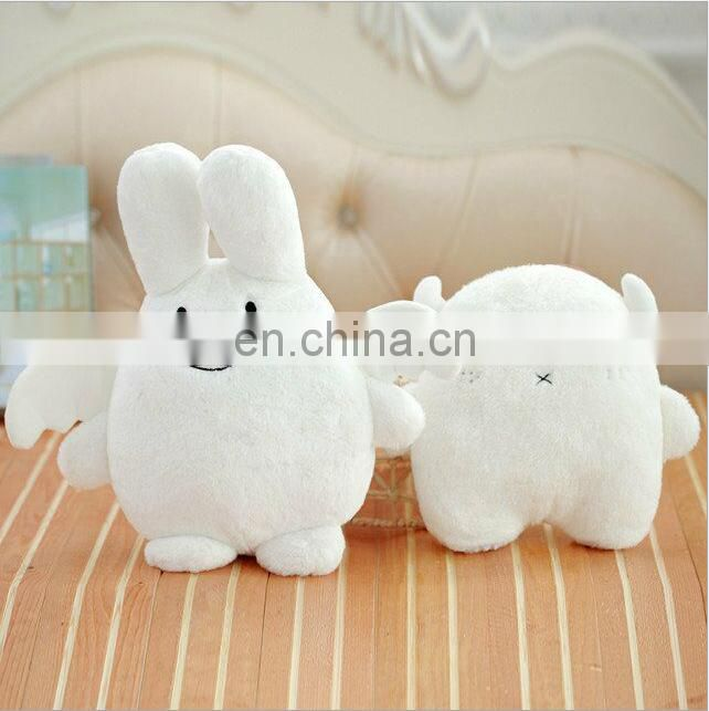 Custom white stuffed angel bear plush angel and devil soft doll toy for baby bed sleeping