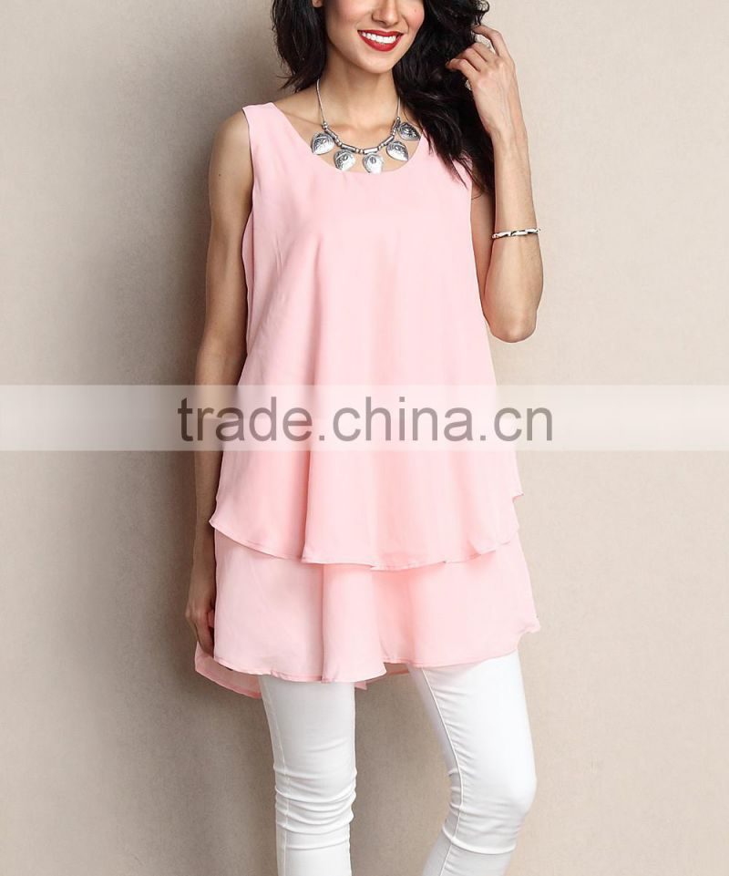 Fashionable Women Blouse With Pink Chiffon Layered Tunic Women Tops Women Wear GD90426-5