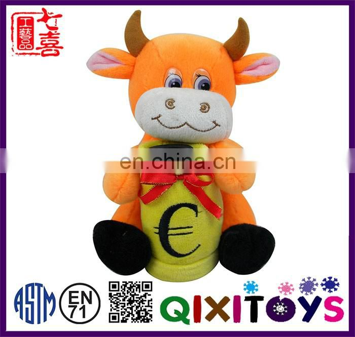 Professional customized cow shaped plush piggy bank