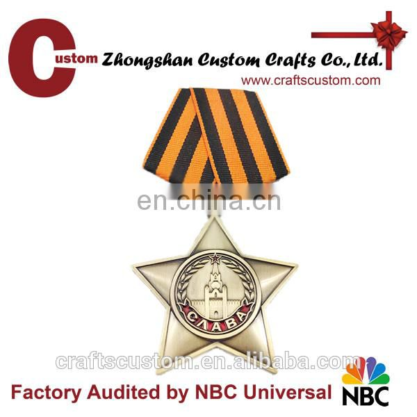 Promotional new products expert factory custom star shape medal with ribbon pin