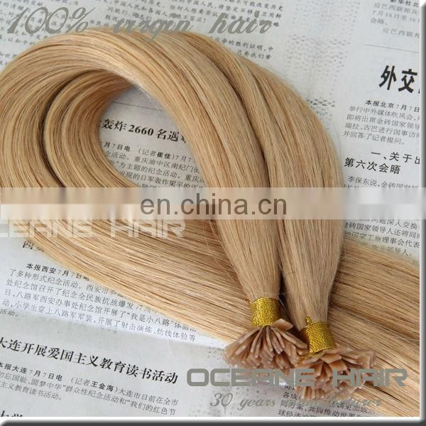 Wholesale Keratin Flat Tip Hair extension ,brown color curly hair extension no shed&tangle,flat tip human remy hair extensio