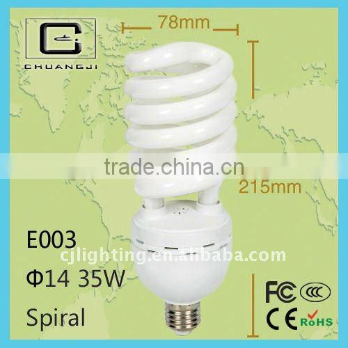E003 Top sale tricolor and mixed phosphor high power half spiral energy saving bulb