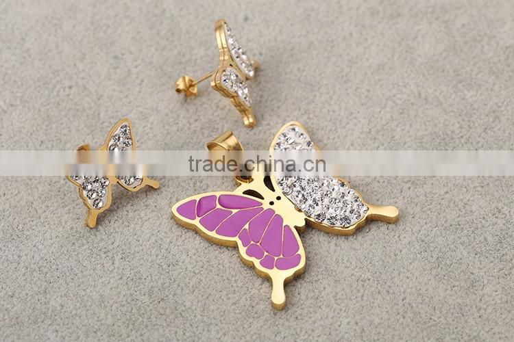 Halloween discount 22k gold plated stainless steel cz diamonds butterfly shape jewelry set