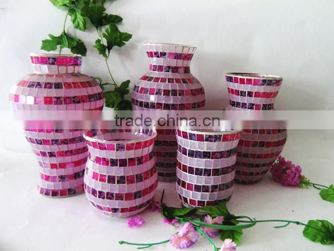 Handblown Home Accessories Cheap Circle Color Mosaic Floral Different Types Decorative Glass Vases