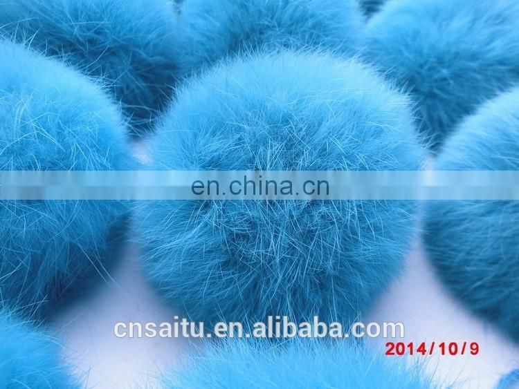 Bag charm garment accessories genuine rabbit fur pom pom in dyed colors