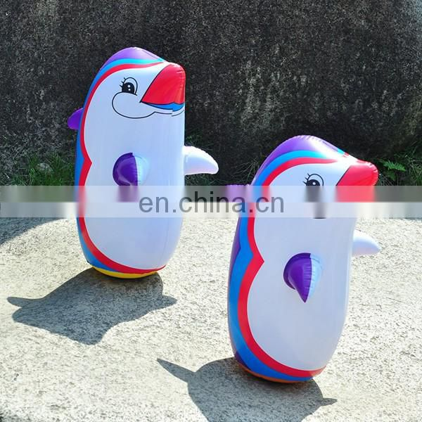 children air-filled inflatable PVC penguin tumbler toy