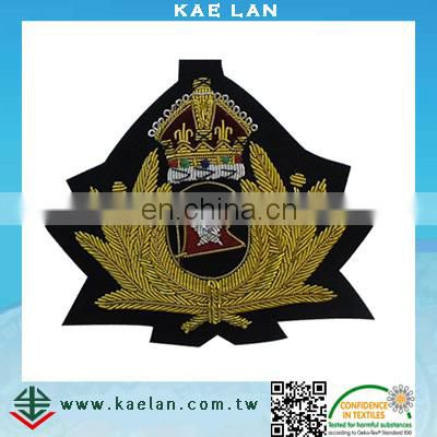customized bullion wire embroidery patch with rhinestone