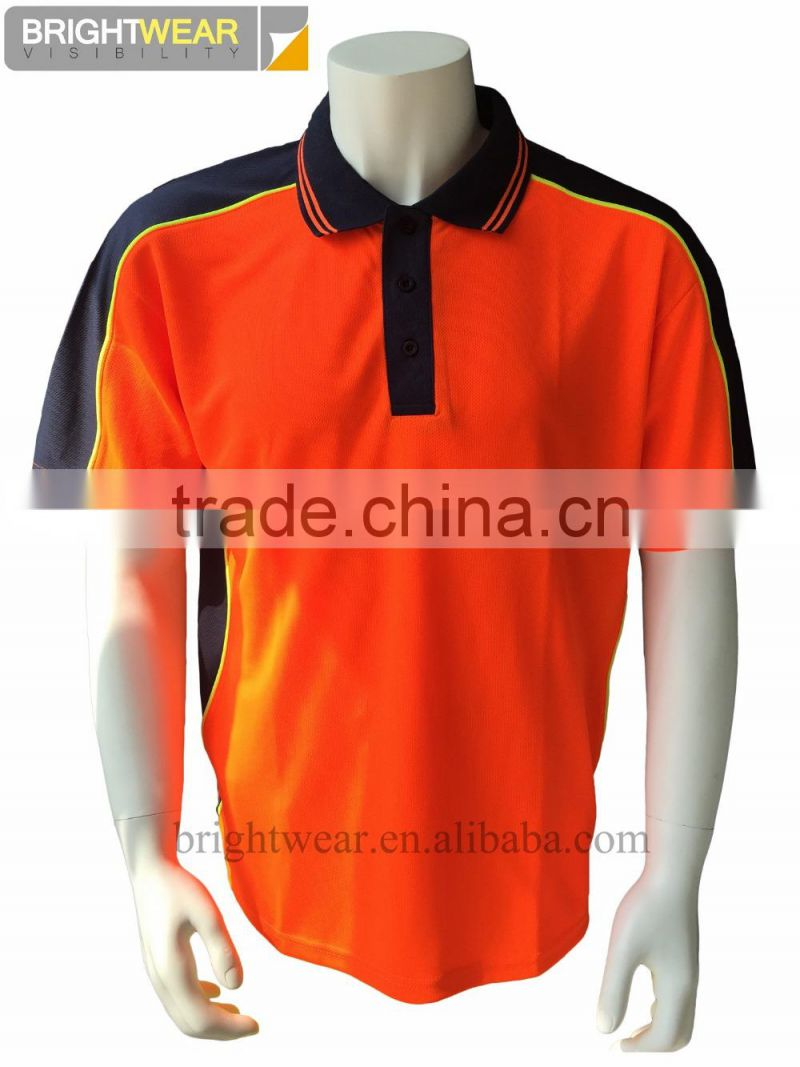 Mens Two Tone High Visibity Reflective Work Wear Polycotton Silk