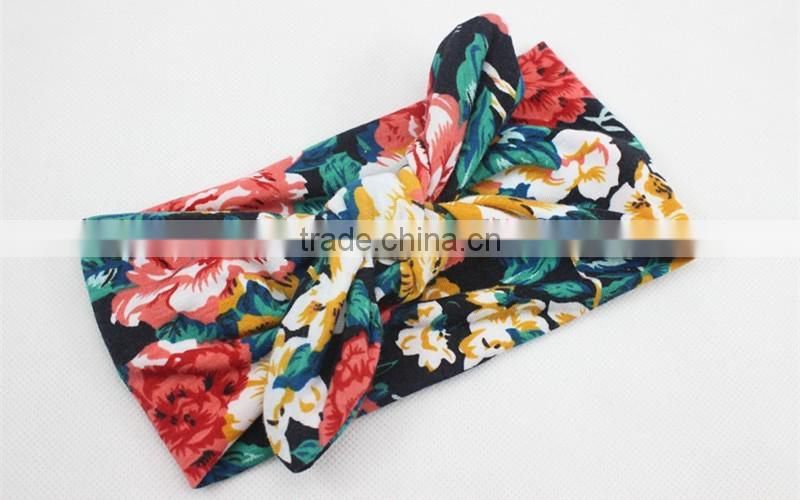 2016 new arrival boutique children elastic hair band , floral turban baby girls headband M5062003