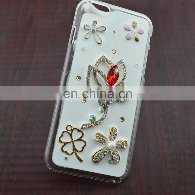 crystal rose diy alloy for mobile phone case