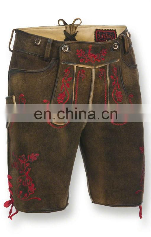 German-Bavarian-Oktoberfest-Trachten-Short-Length-Lederhosen-Men's Leather Shorts Brown fire