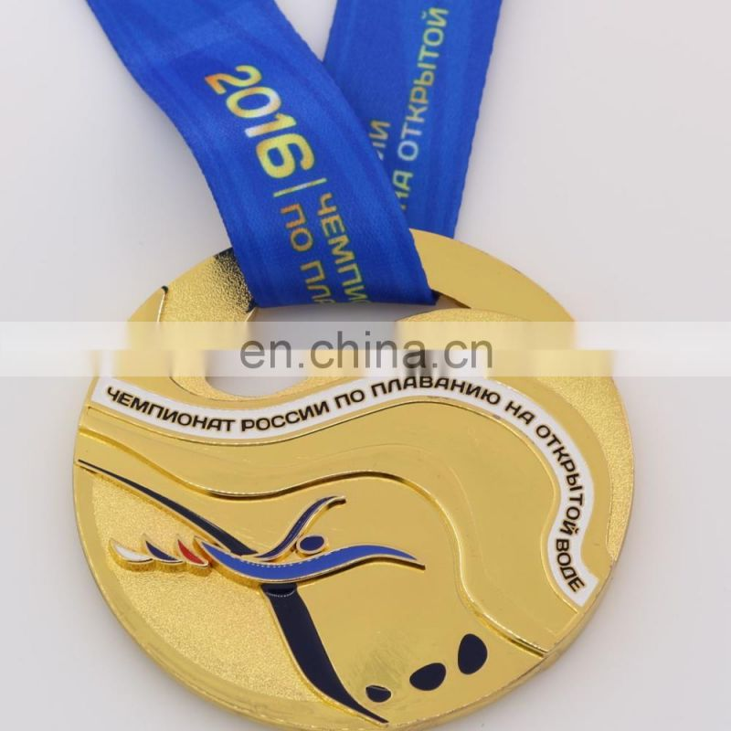 Custom round golden medal metal mdal sports medal wholesale