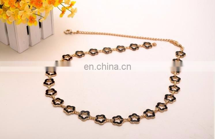 Fashion Ladies Black Gold Silver Thin Waist Metal Belts Circuar Ring Chain Belt for Women Dress