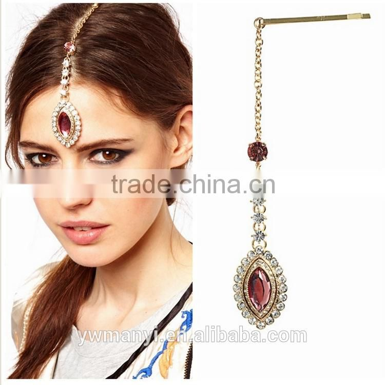 Hot sale beauty red crystal head jewelry hair jewelry 2016 H0044