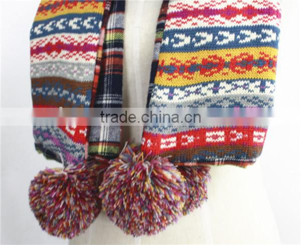 Chirstmas Pattern Acrylic Winter Double sides Scarf With Ball