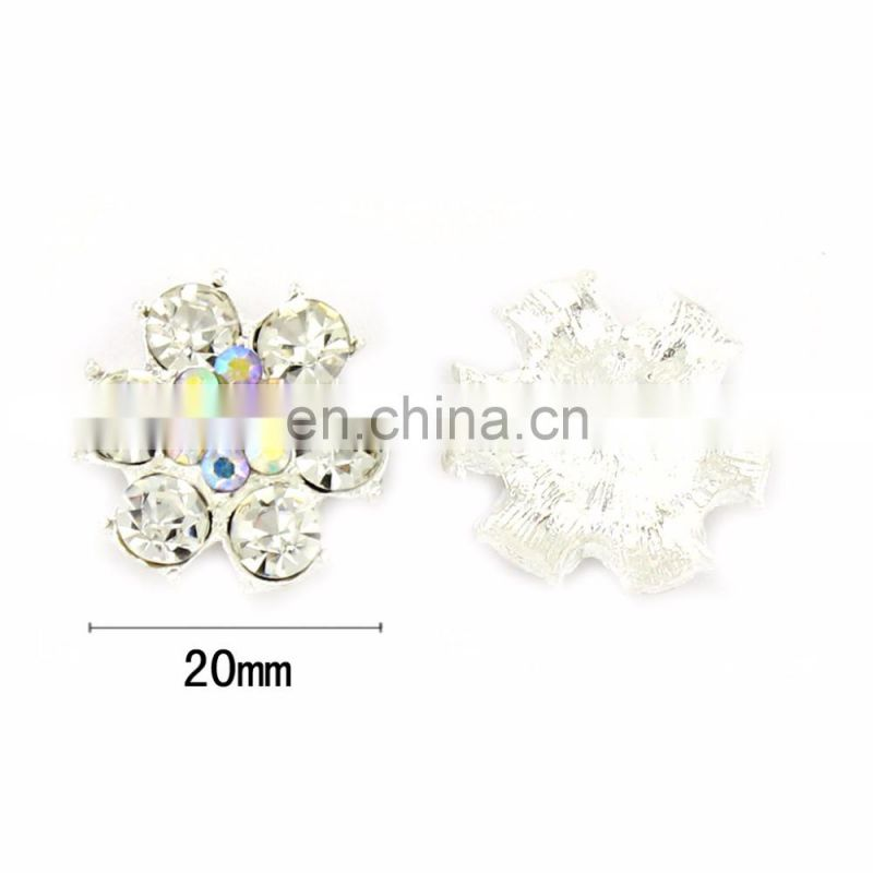 Fashion Style Alloy Colorful Rhinestone Button Clear Crystal for Accessories with High Quality Silver Plating