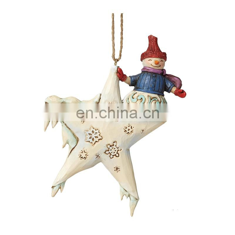 snow man with star ornament for home decoration