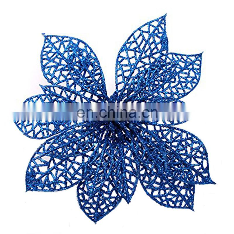 Artificial christmas decoration poinsettia flower christmas glitter poinsettia tree ornament