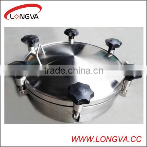 sanitary stainless steel round pressure manhole cover with pipe fittings