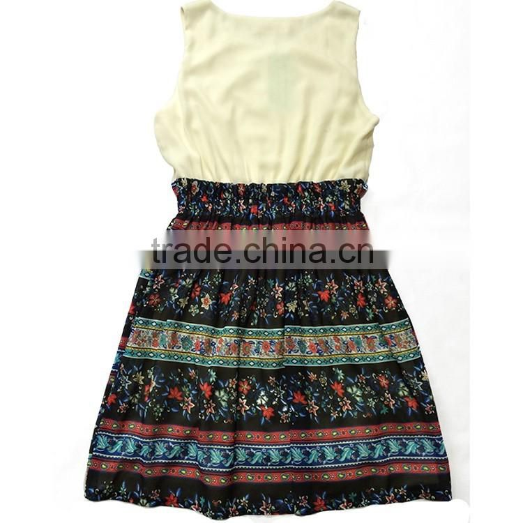 2016 national style dress printed fabric beautiful cotton and chiffon fashion dress design