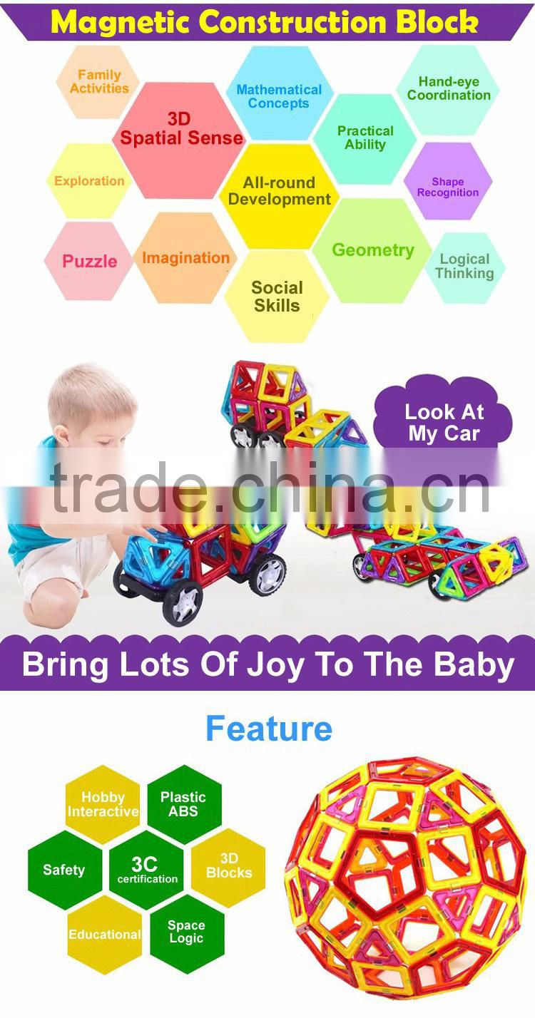 2015 Popular Intelligent Toy For Kids 198PCS DIY Plastic Magnetic Building Blocks Magformers