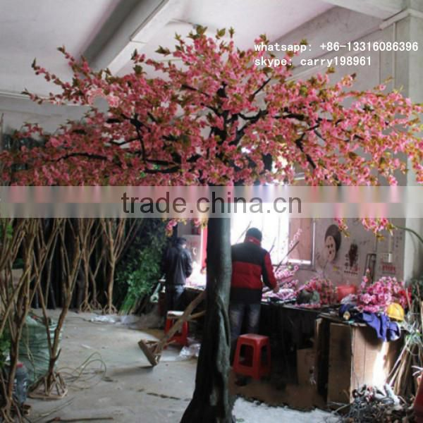 LXY081418 artificial cherry blossom tree ornamental plastic cherry tree