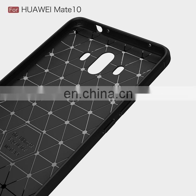 Carbon Fiber Brushed Metal Solid Color TPU Black Cover Case for Huawei Mate 10