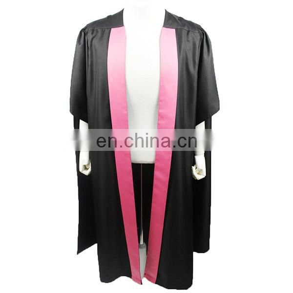 Master Gown-Black Color With Pink Front Banner