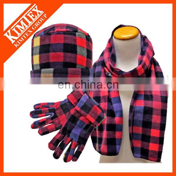 Black&White Checkered Polar Fleece Hat Scarf Glove Matching Set